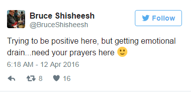 """Trying to be positive here, but getting emotional drain,"" a desperate Chief Bruce Shisheesh said on Twitter. ""Need your prayers here."""