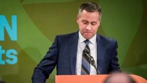 NDP Saskatchewan Leader Cam Broten addresses his supporters at the Saskatchewn NDP election headquarters in Saskatoon on Monday, April 4, 2016