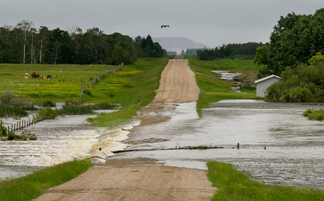 Century Road closure, 21 Km. south of Langenburg, Sask. | Robin Booker photo, 2014