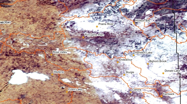 Saskatchewan Water Security Agency:  satellite image showing areas of the province still with some snow cover, as of April 18. (Water Security Agency)
