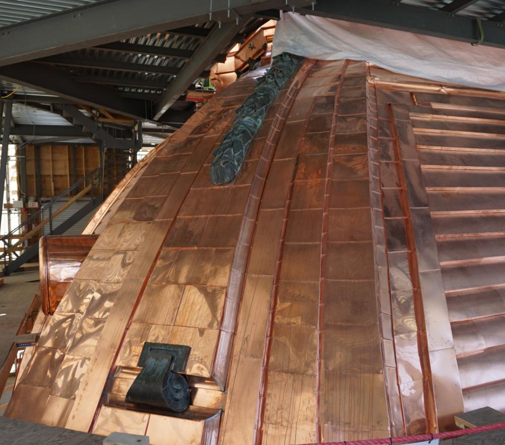 Interior close-up of copper dome - which will eventually turn a black colour