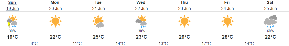 5 day weather June 19