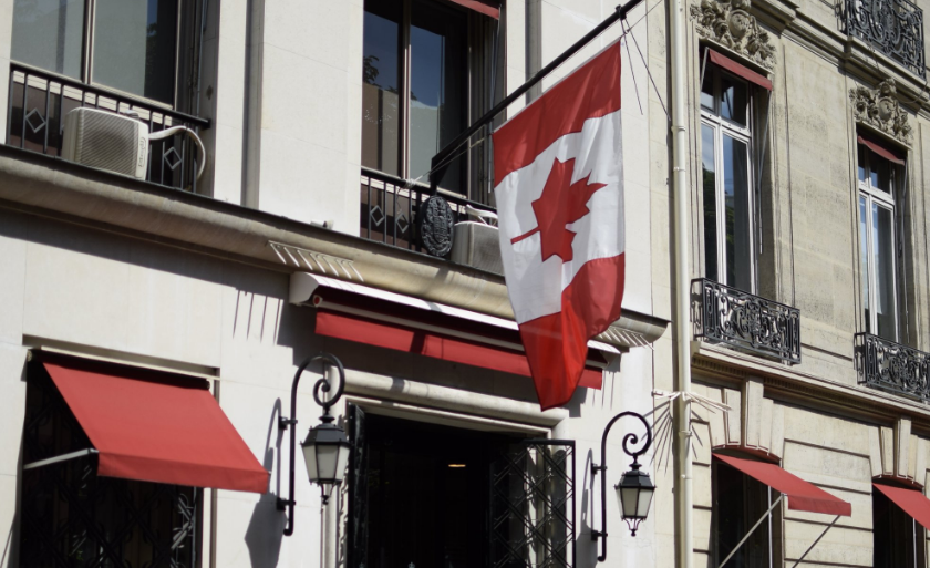 Canadian flag at half-mast, in solidarity with the victims and their families after truck plows through crowd in Nice, France