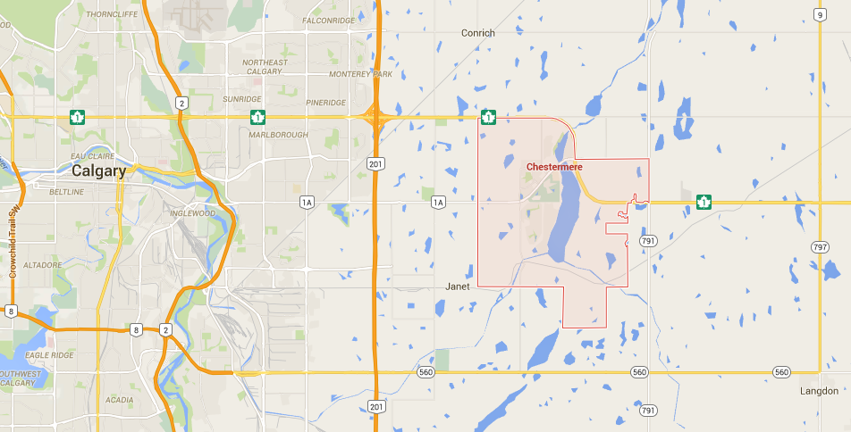 Calgary Police are searching the area of Chestermere