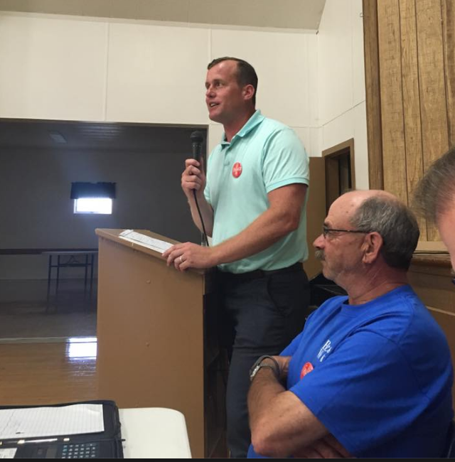 SK Opposition Leader Trent Wotherspoon addresses town hall meeting in Preeceville